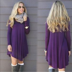 Purple tunic shirt dress oversize fall casual
